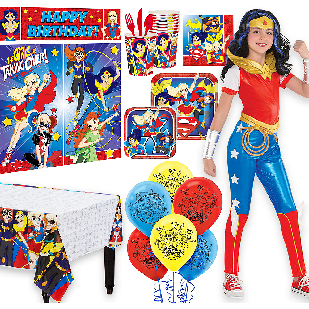 Warner Brothers DC Super Hero Girls Wonder Woman Birthday Party Kit, Includes Jumpsuit Costume (8-10), Tableware, Decor and Balloons, Serves 8 Image #1
