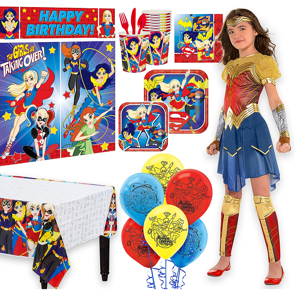Warner Brothers Wonder Woman Movie Birthday Party Supplies Kit, Includes Costume (12-14), Tableware, Decor and Balloons, Serves 8 Image #1