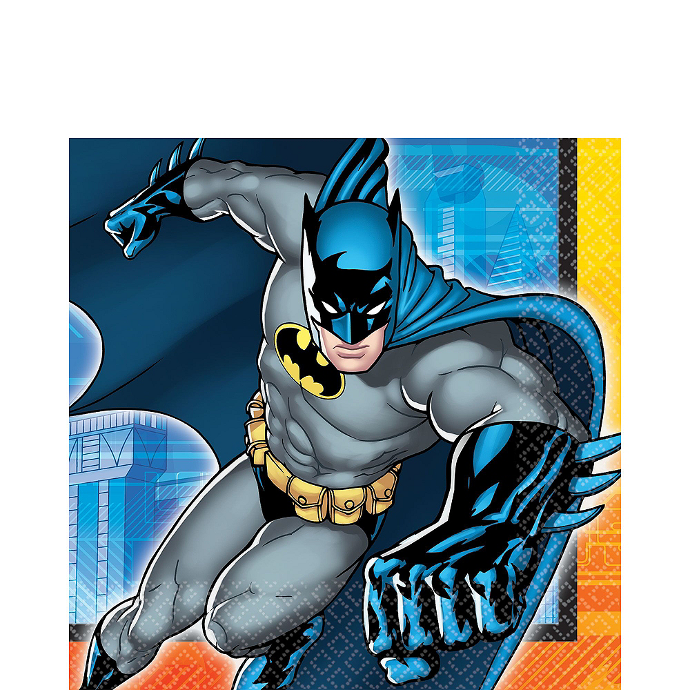Warner Brothers Batman Birthday Party Kit, Includes Batman Muscle Costume (8-10), Tableware, Decor and Balloons, Serves 8 Image #6