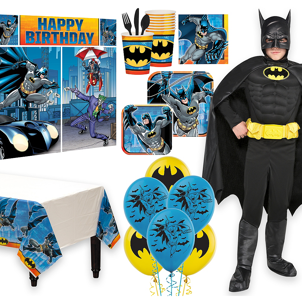 Warner Brothers Batman Birthday Party Kit, Includes Batman Muscle Costume (12-14), Tableware, Decor and Balloons, Serves 8 Image #1