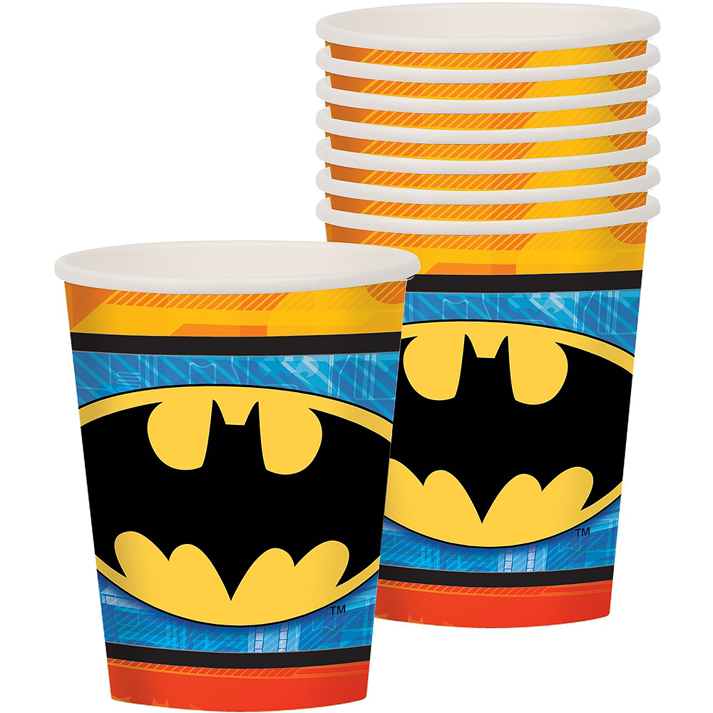 Warner Brothers Batman Birthday Party Kit, Includes Batman Muscle Costume (12-14), Tableware, Decor and Balloons, Serves 8 Image #6