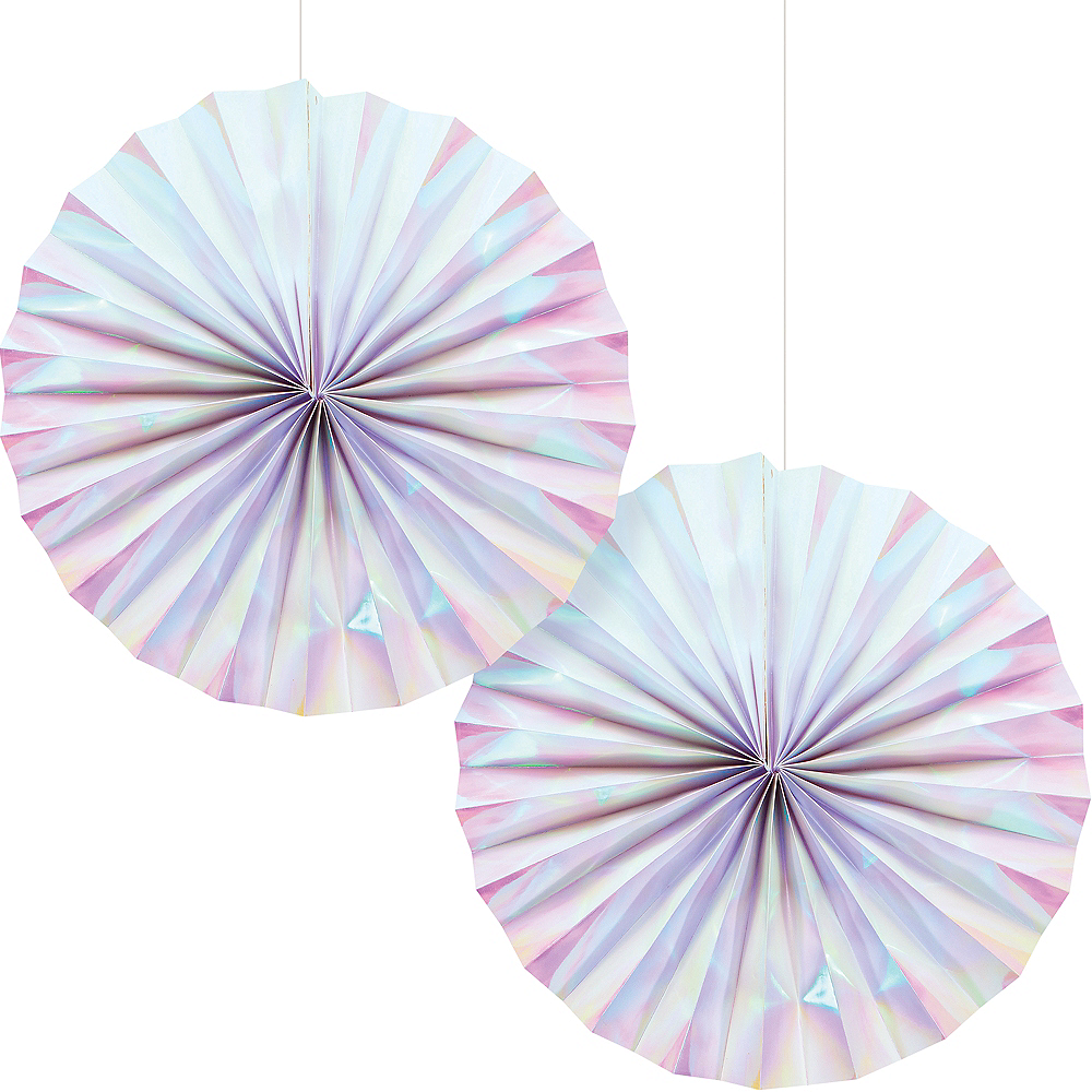 Nav Item for Iridescent Paper Fan Decorations 2ct Image #1