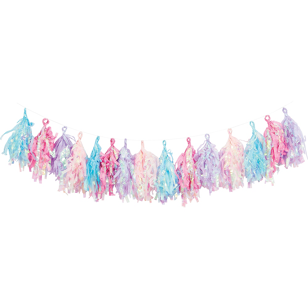 Iridescent Blue, Pink, & Purple Tassel Garland Image #1