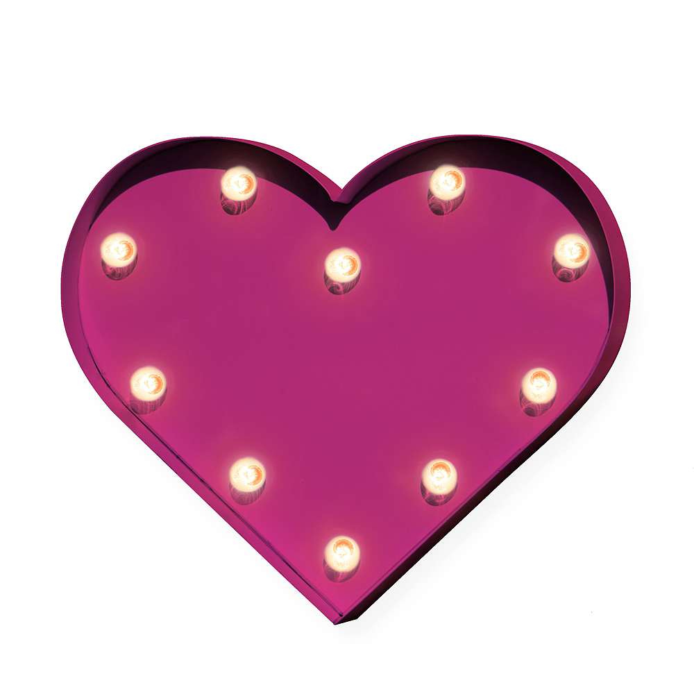Nav Item for Light-Up Pink Heart Marquee Sign Image #1