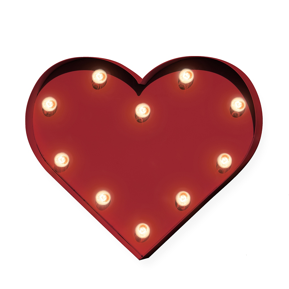 Light-Up Red Heart Marquee Sign Image #1