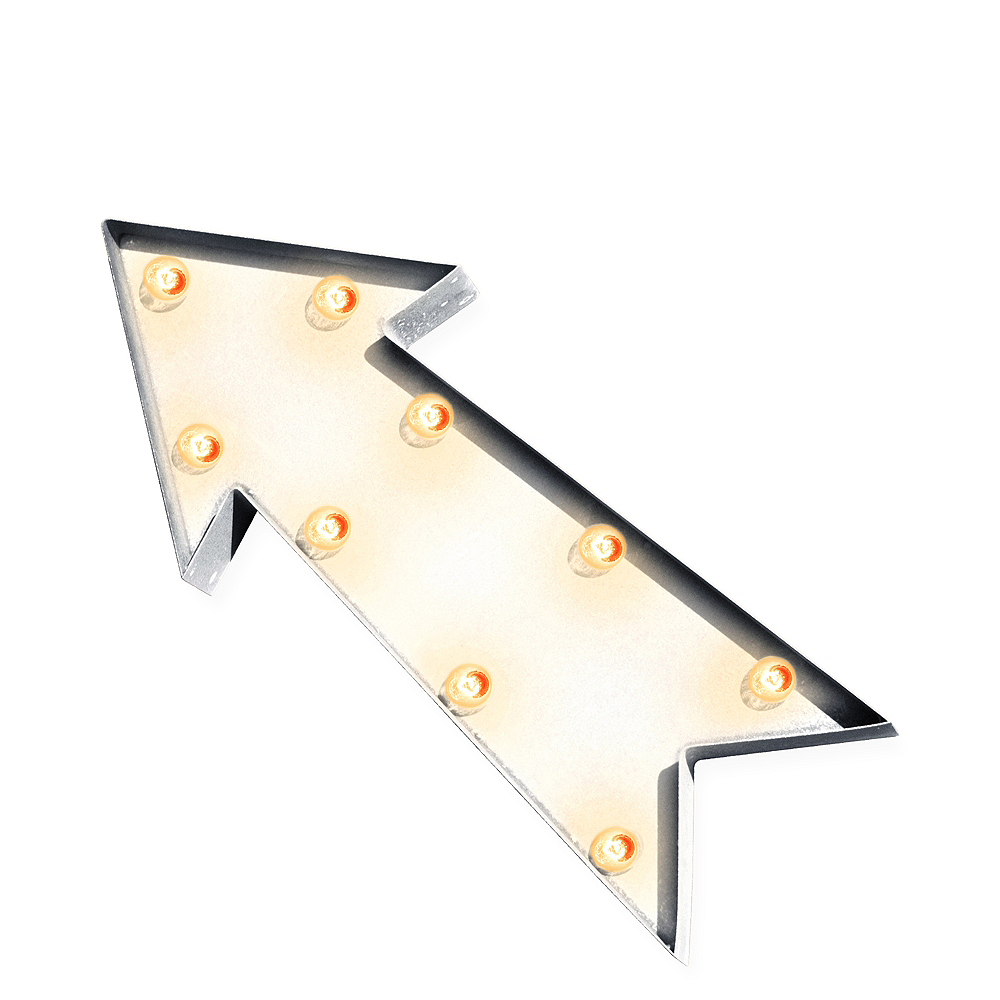 Light-Up White Arrow Marquee Sign Image #1
