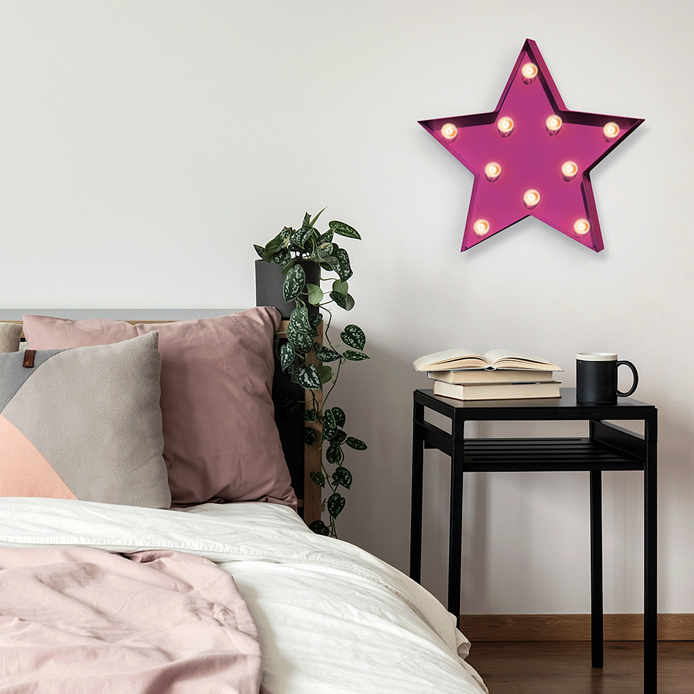 Light-Up Pink Star Marquee Sign Image #2