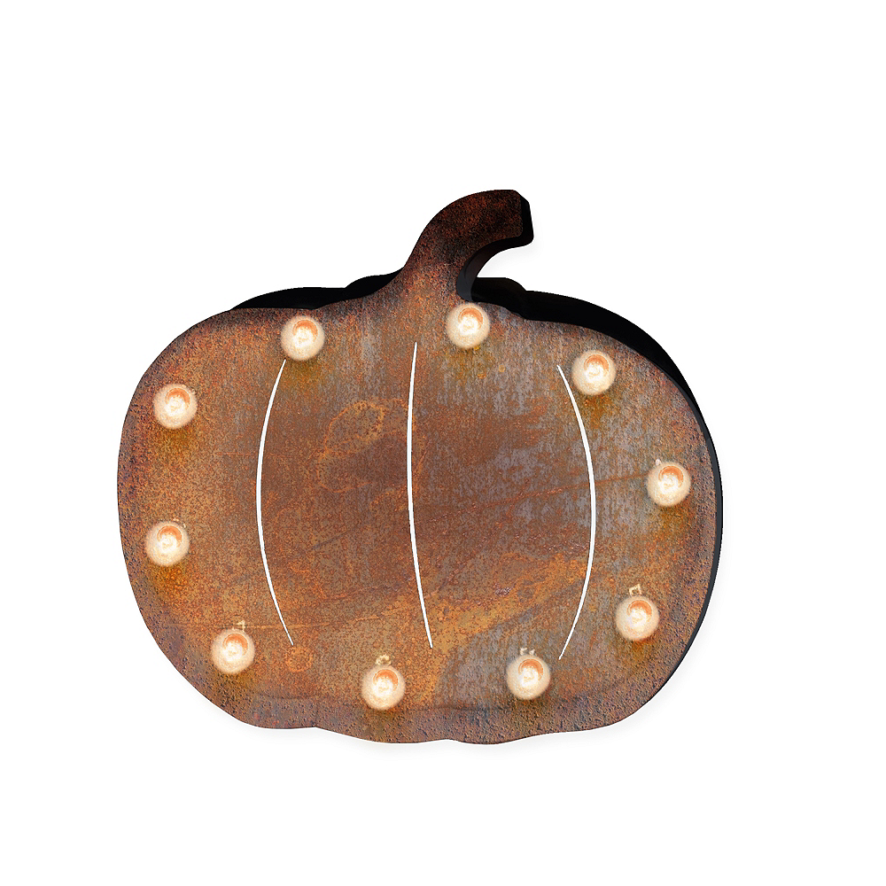 Light-Up Pumpkin Marquee Sign Image #1