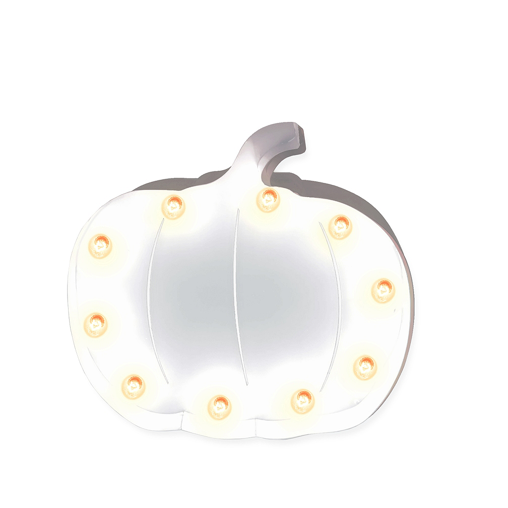 Light-Up White Pumpkin Marquee Sign Image #1
