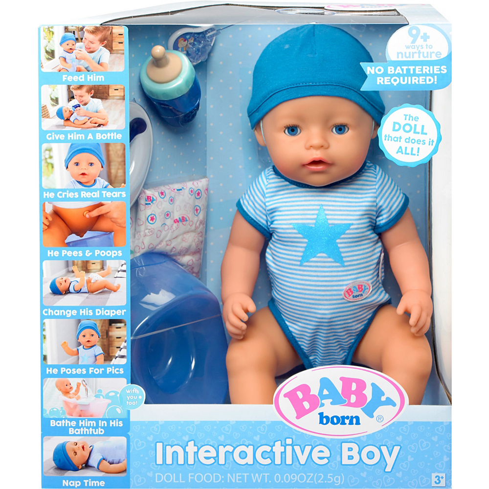 Baby Born Interactive Baby Doll With Dark Brown Eyes Party City