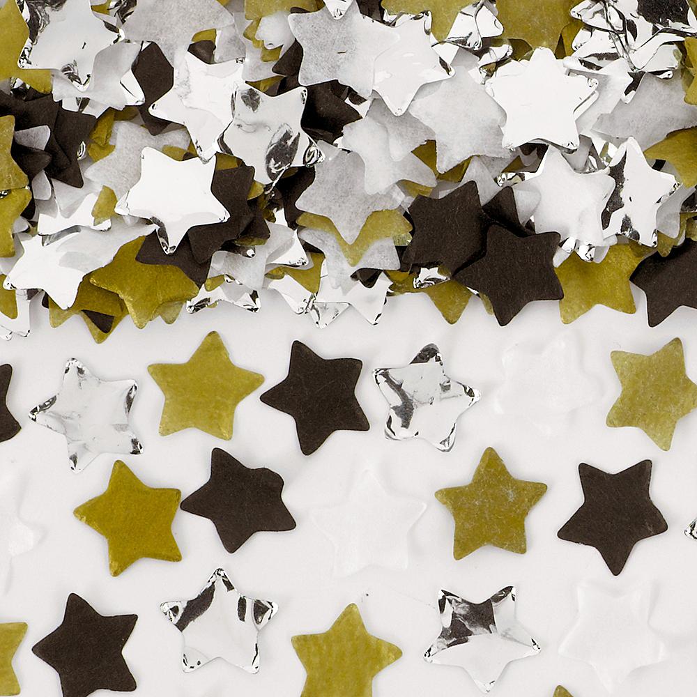 Black, Gold & Silver Star Confetti Tubes 4ct Image #1