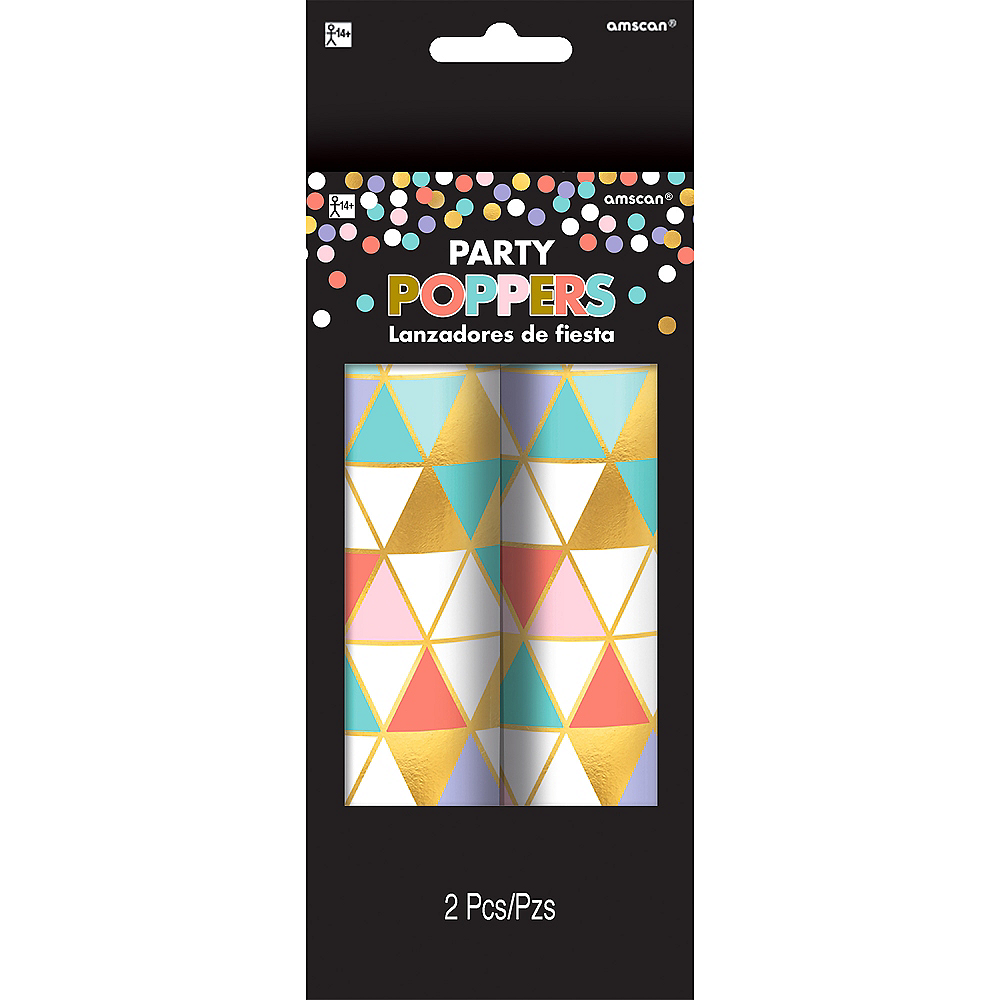 Metallic Gold & Pastel Confetti Party Poppers 2ct Image #1