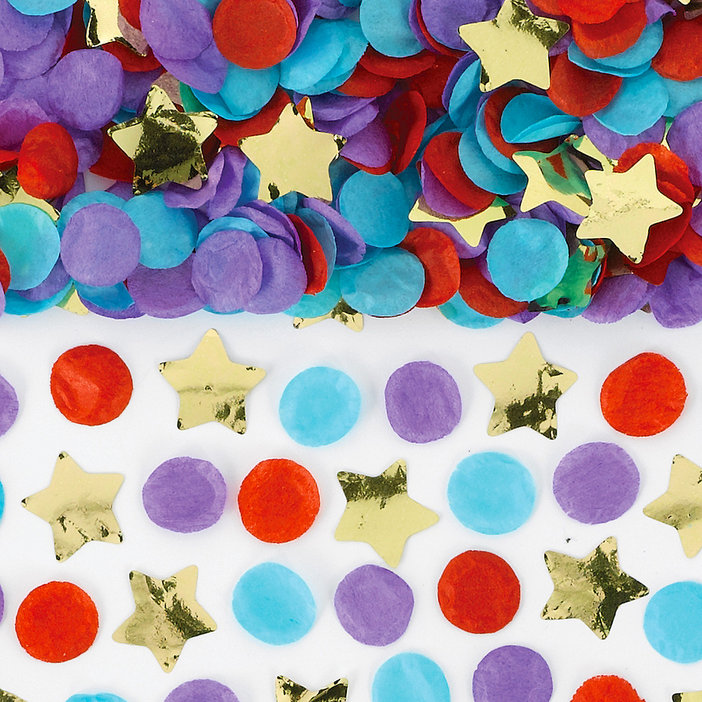 Colorful Circle & Gold Star Confetti Tubes 4ct Image #1
