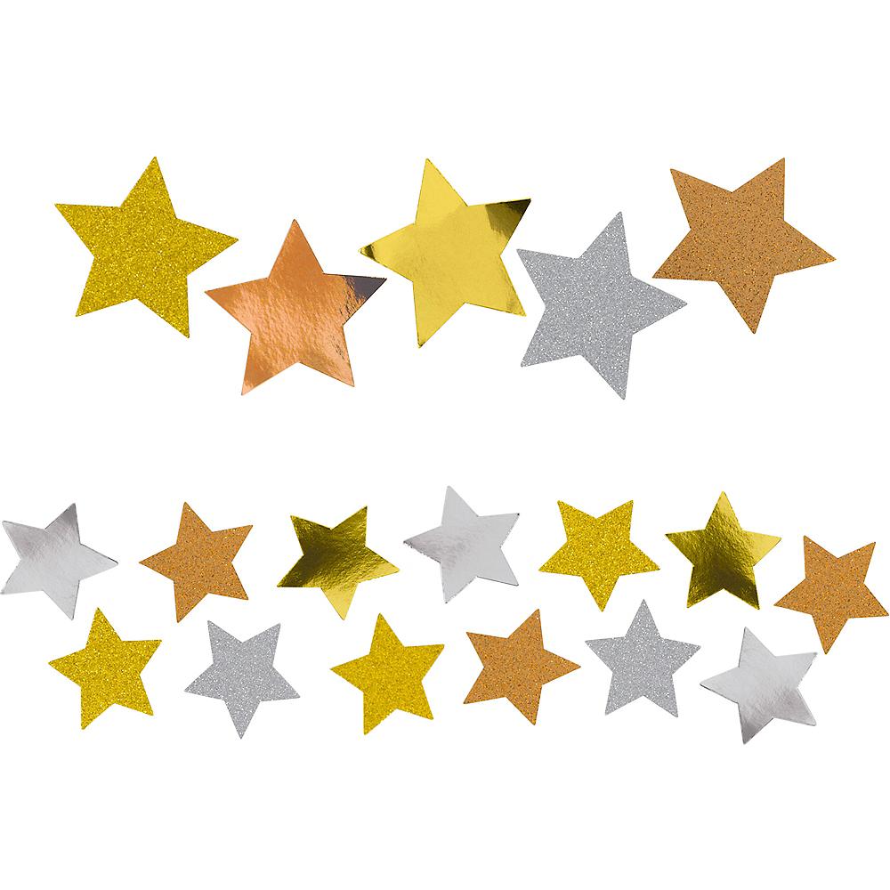 Giant Copper, Gold & Silver Confetti Stars 48ct Image #2