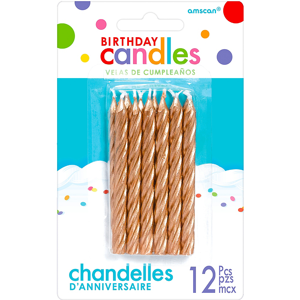 Rose Gold Birthday Candles 12ct Image #1