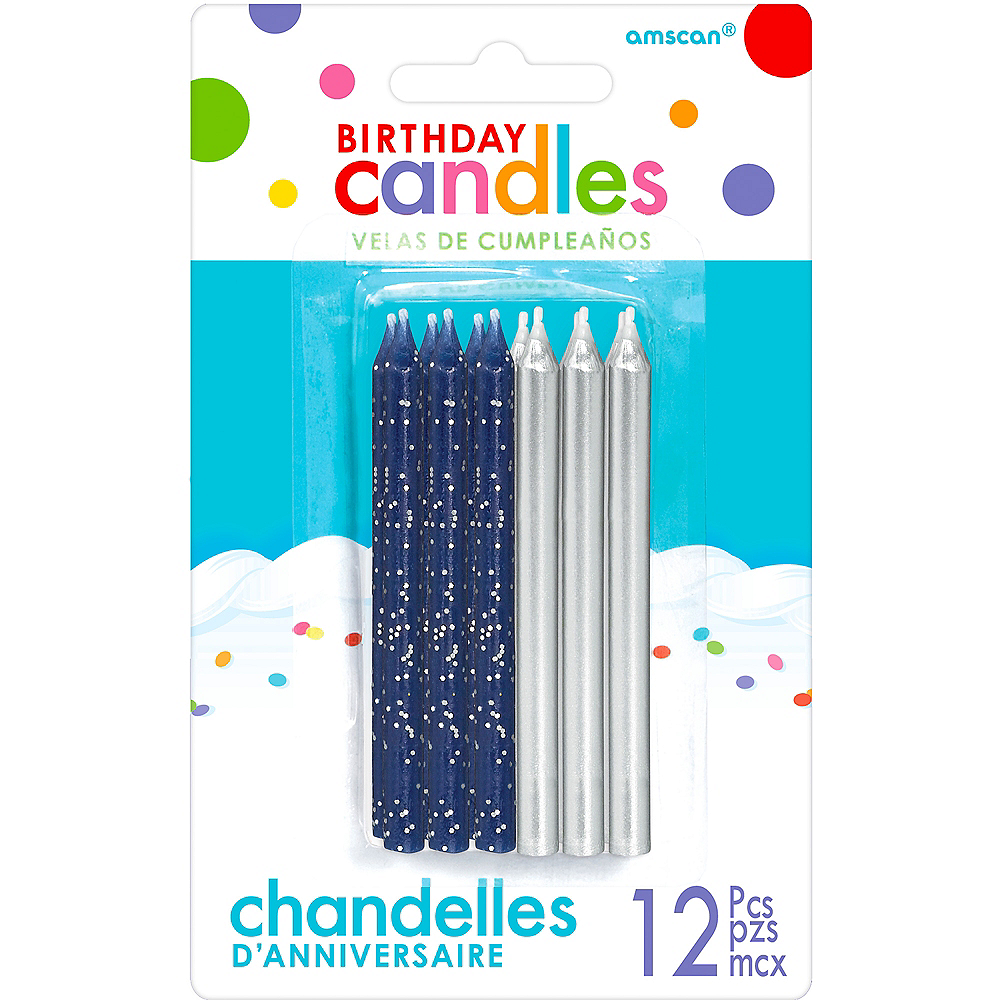 Dark Blue Silver Birthday Candles 12ct Image 1