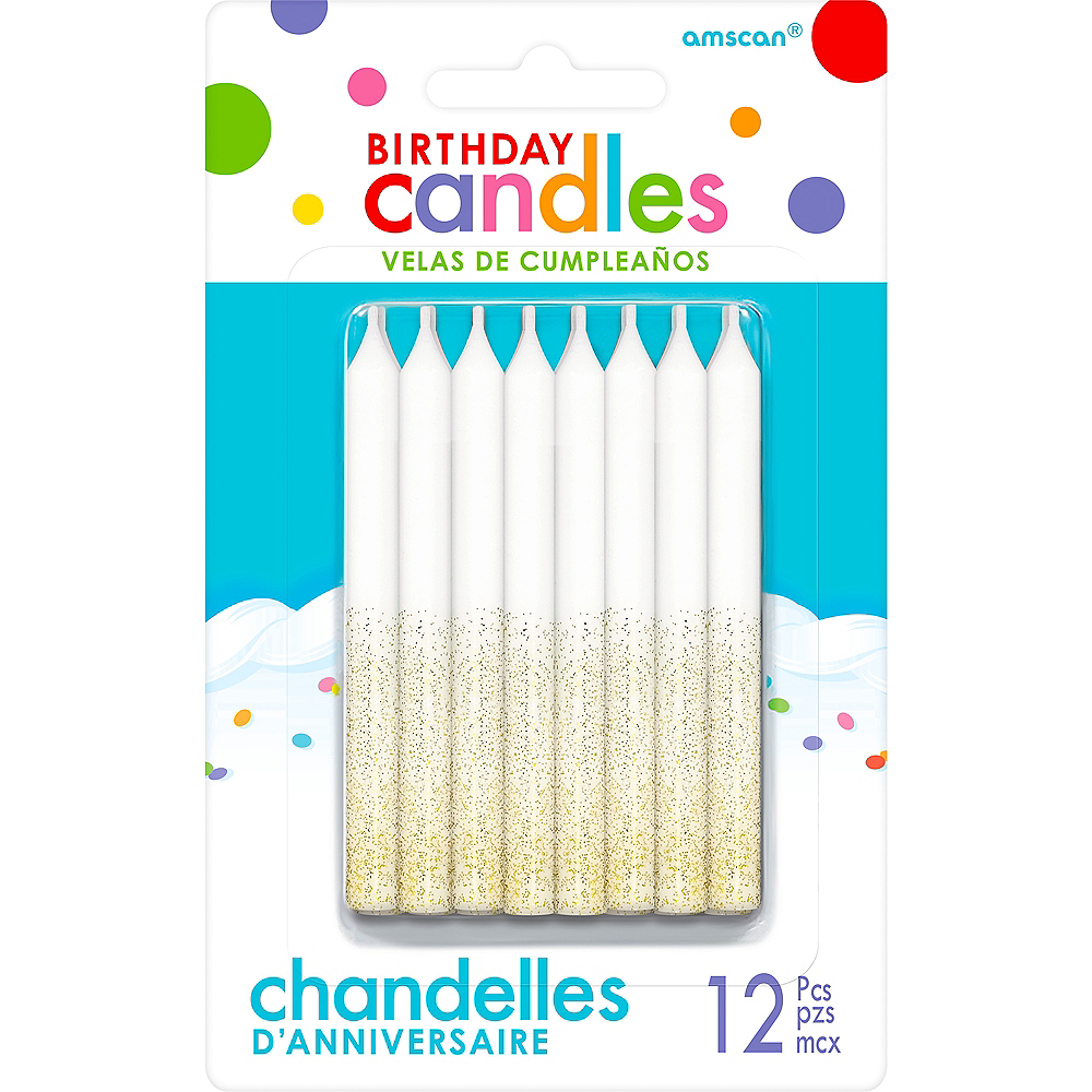 Glitter Gold Birthday Candles 12ct Image 1