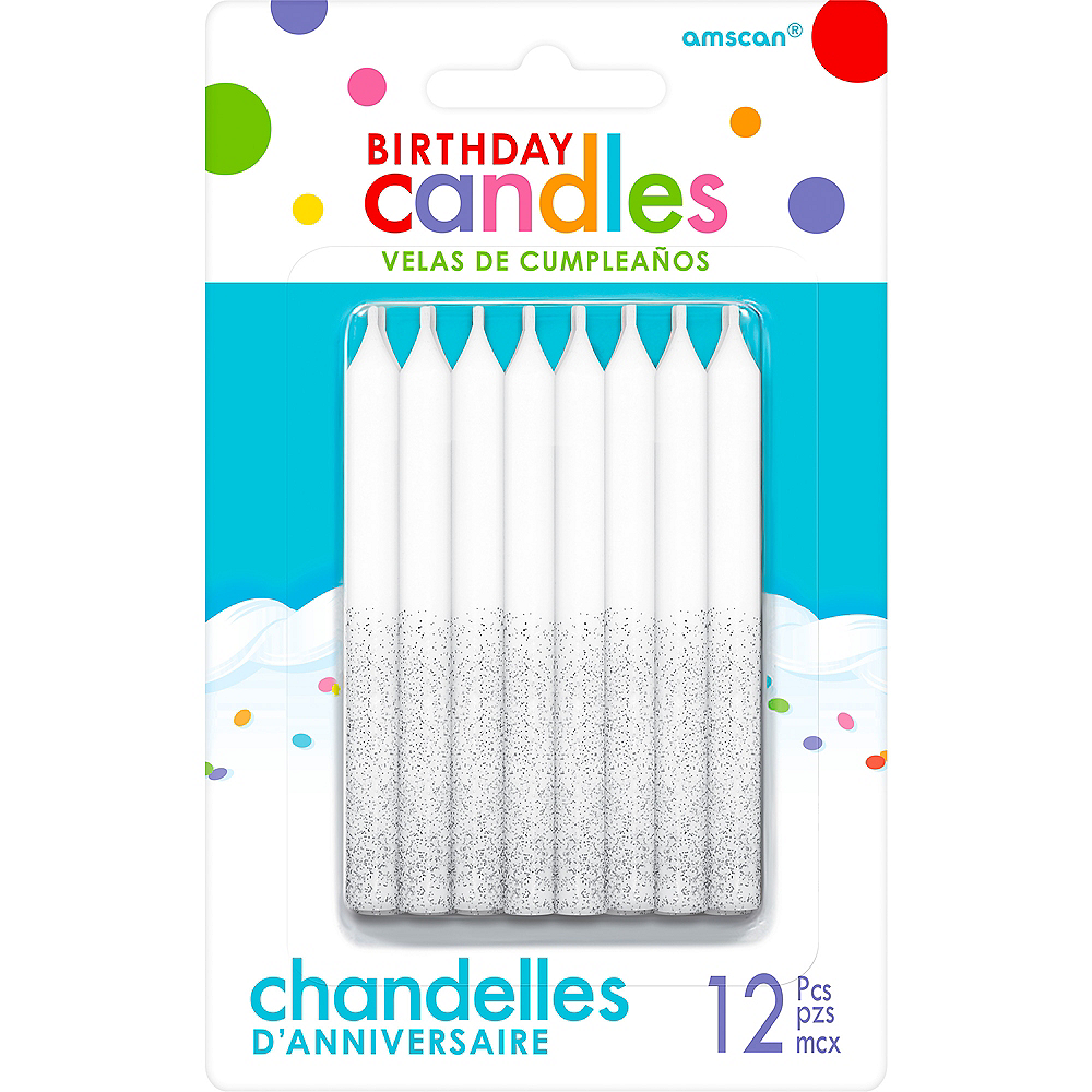 Glitter Silver Birthday Candles 12ct Image 1