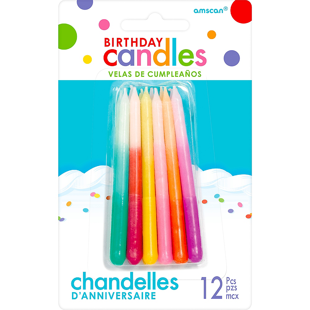 Multicolor Ombre Birthday Candles 12ct Image #1