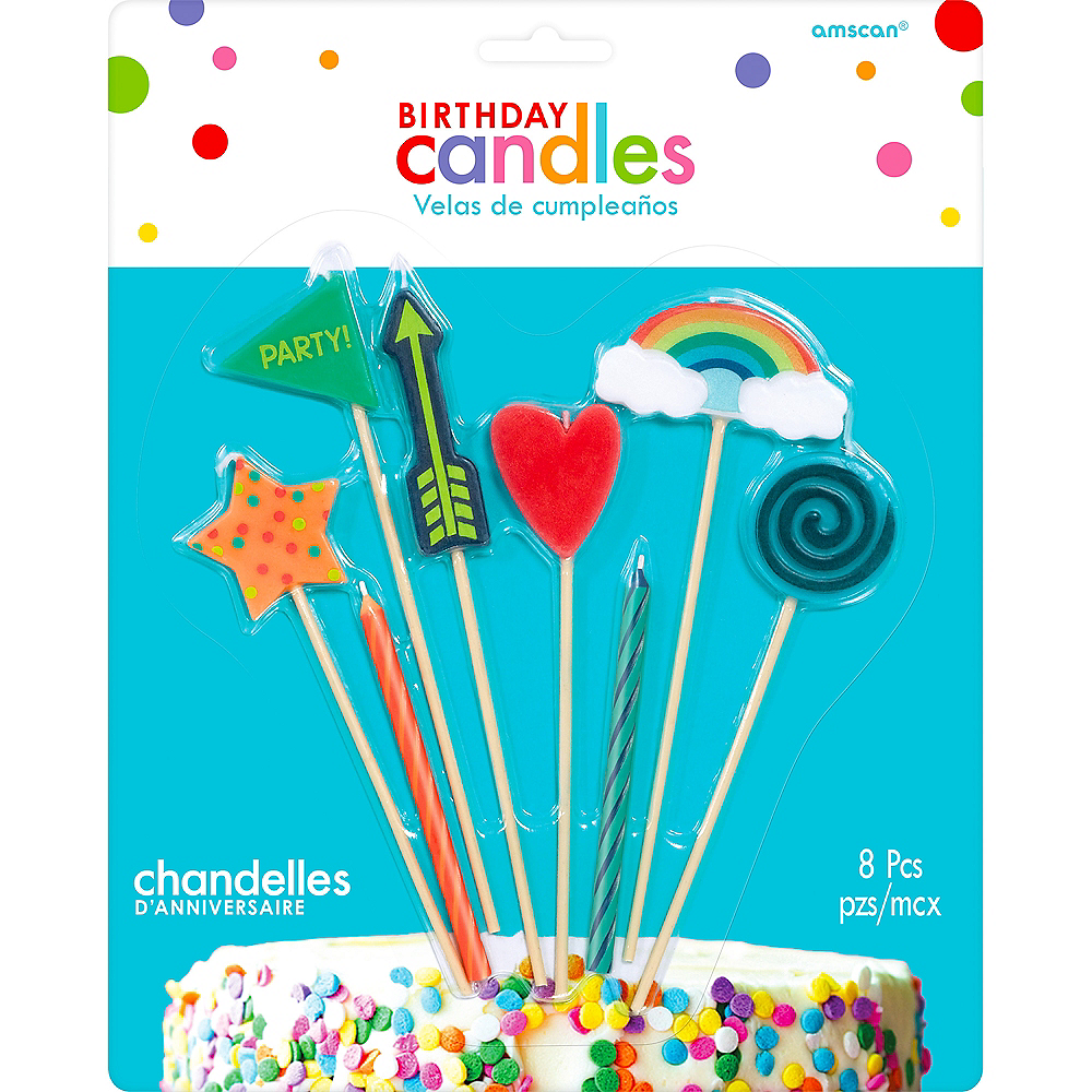 Nav Item for Colorful Icons Birthday Candles 8ct Image #1