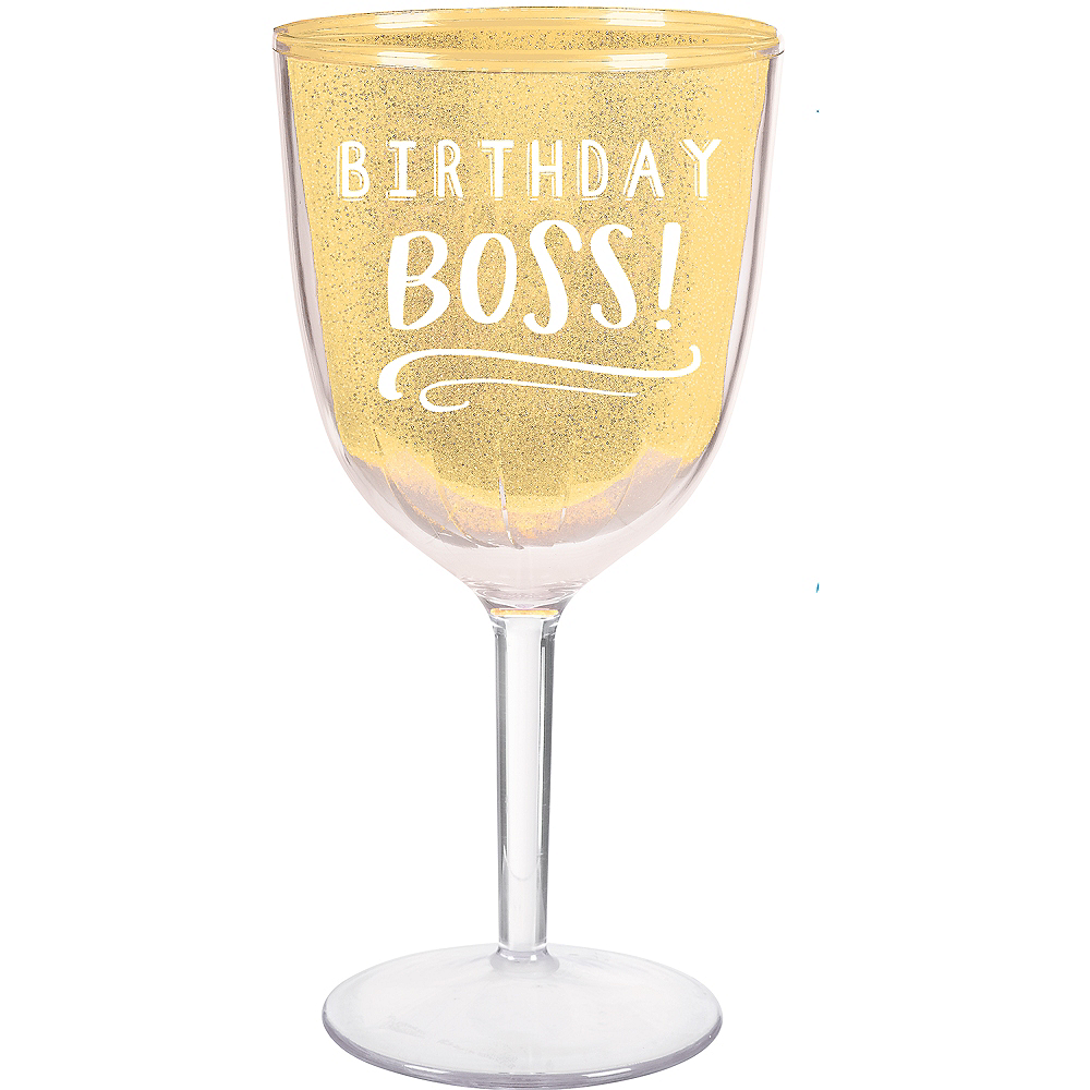 Glitter Gold Birthday Boss Wine Glass Image #1