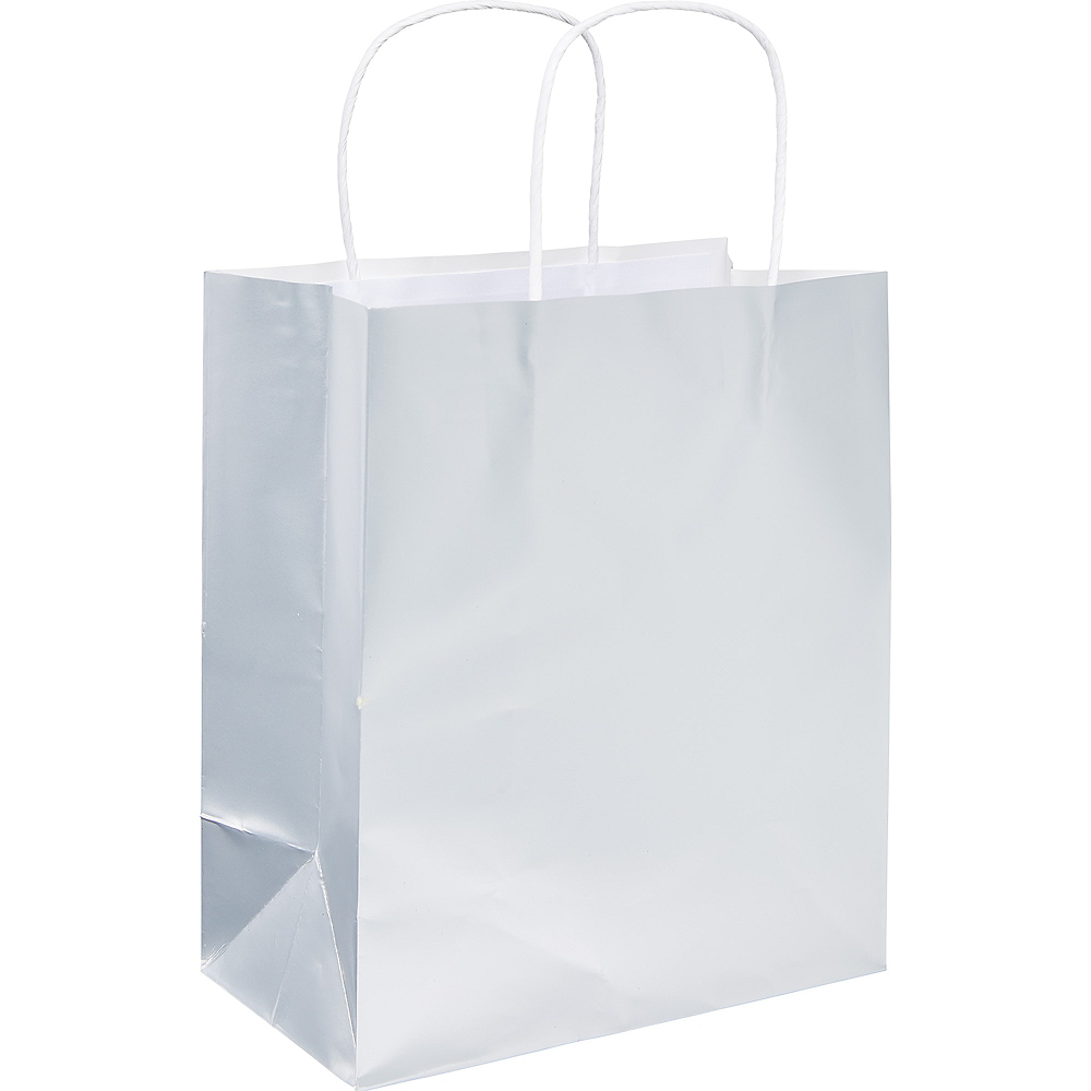 Small Silver Paper Gift Bag Image #1