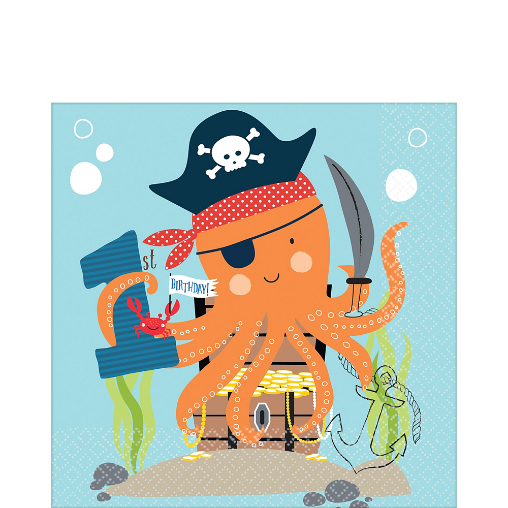 Nav Item for Pirate Shark 1st Birthday Lunch Napkins 36ct Image #1