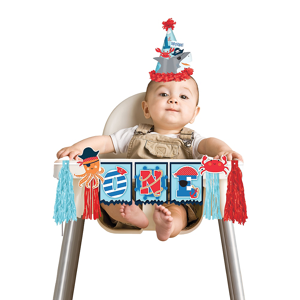 Pirate Shark 1st Birthday High Chair Decoration Image 1