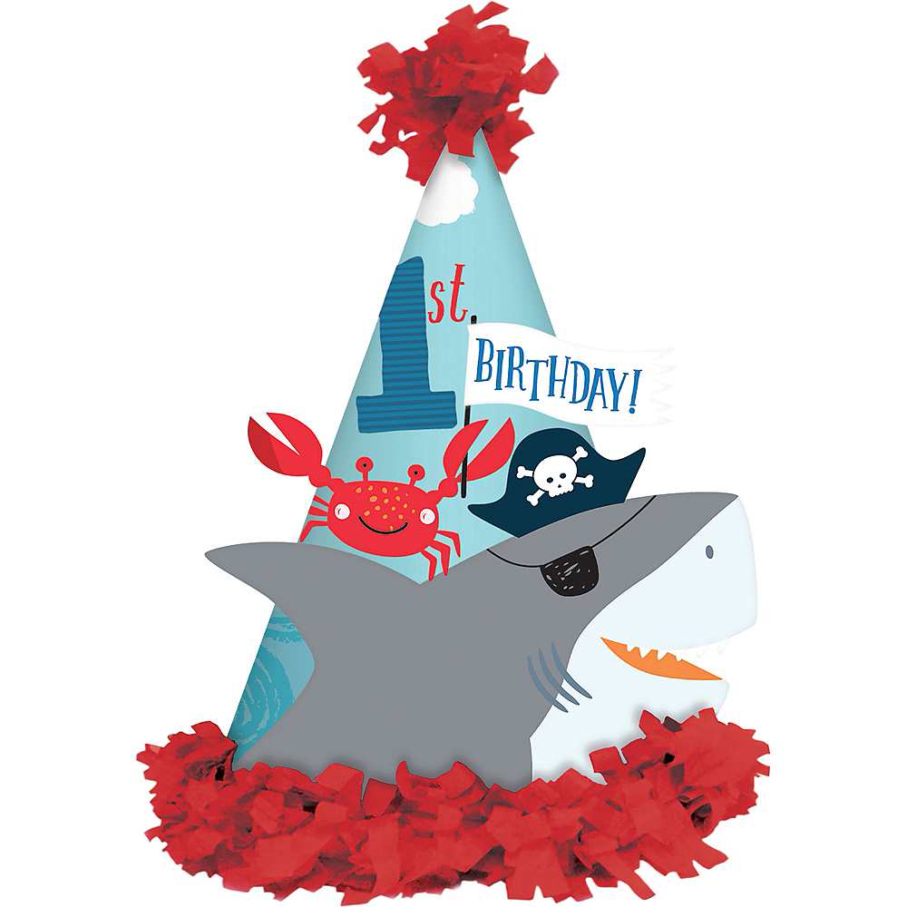 Pirate Shark 1st Birthday Party Hat Image 1