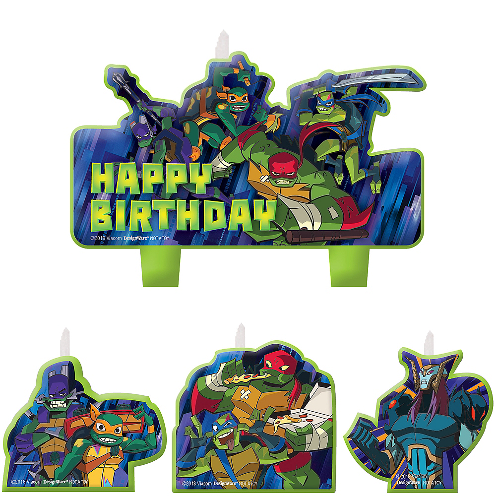 Nav Item for Rise of the Teenage Mutant Ninja Turtles Birthday Candles 4ct Image #1