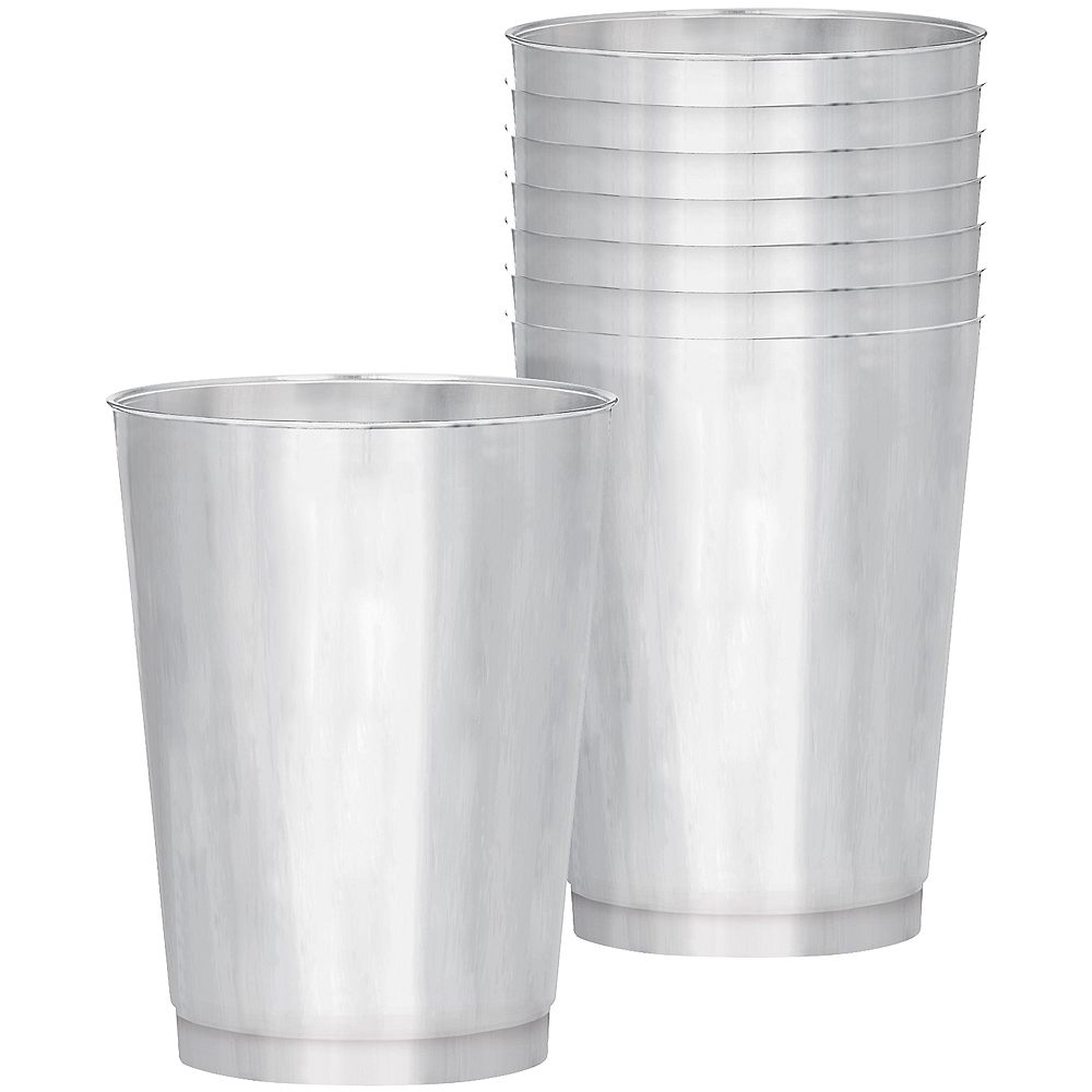 Silver Plastic Cups 30ct Image #1