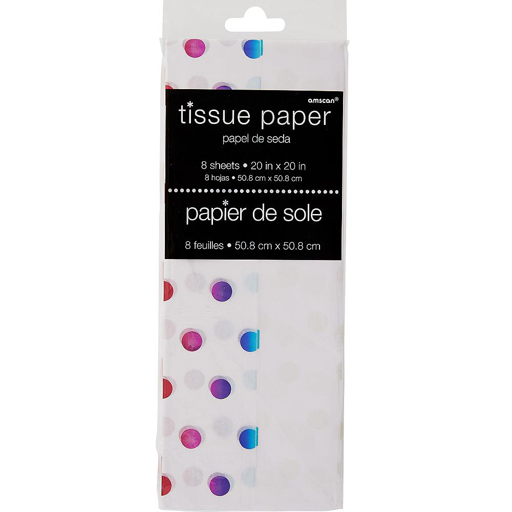 Metallic Blue, Pink & Purple Polka Dot Tissue Paper 8ct Image #1