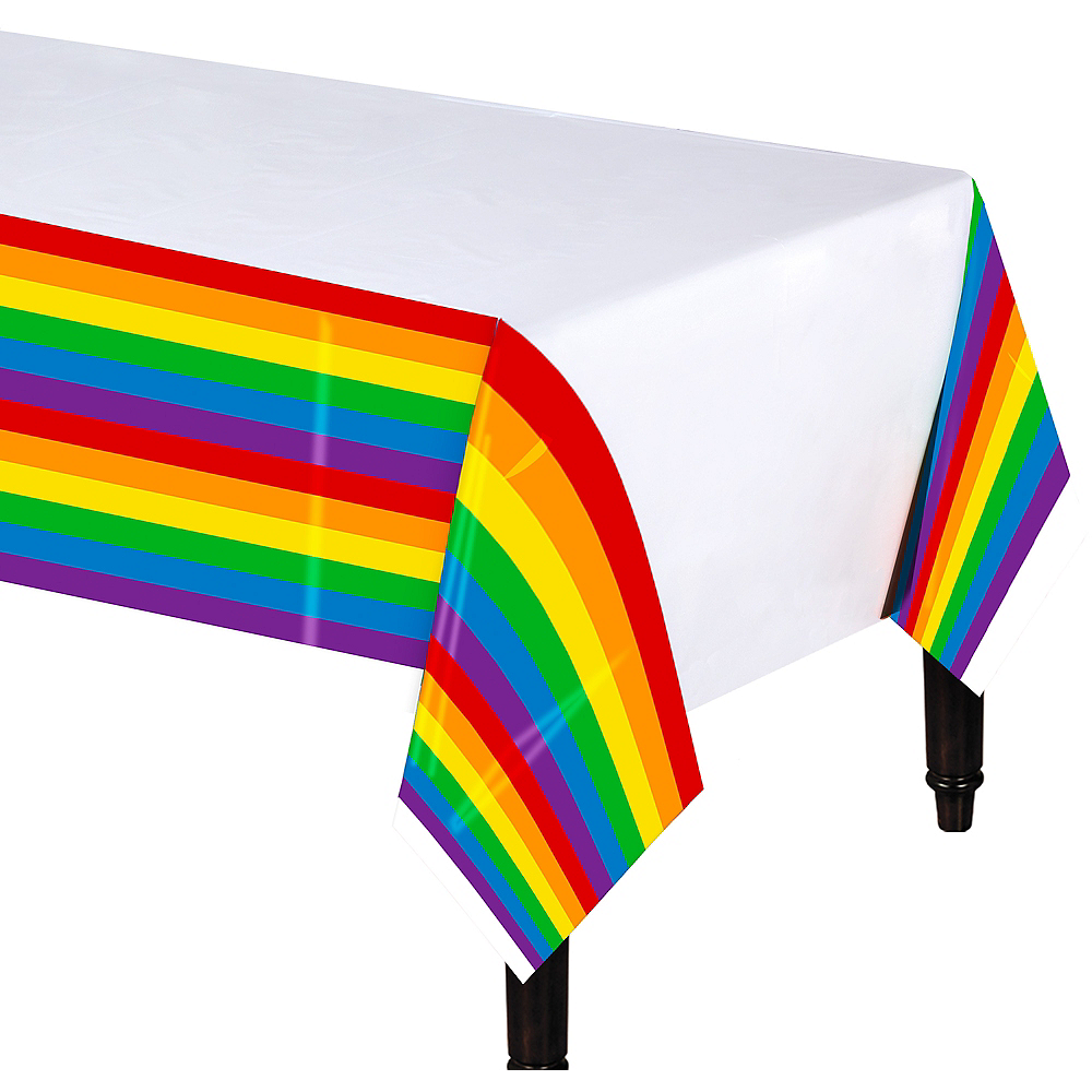 Rainbow Striped Table Cover Image #1