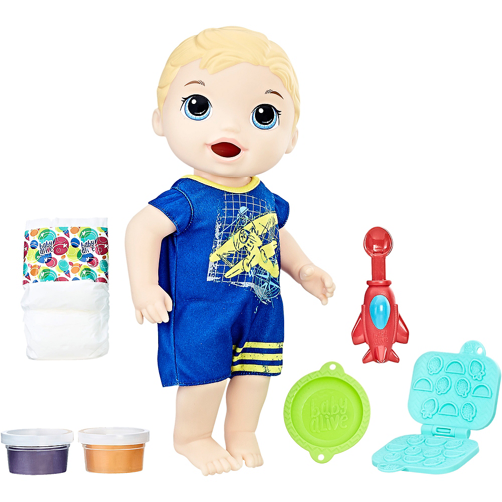 Nav Item for Blonde Baby Alive Snackin' Luke Baby Boy Image #1