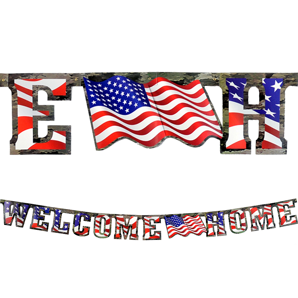 Patriotic Camo Welcome Home Banner Image #1