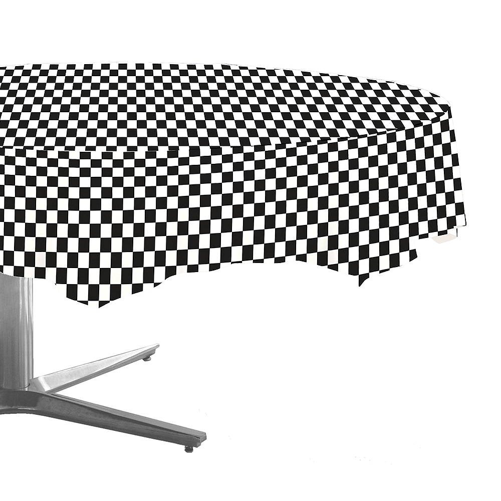 Nav Item for Black & White Checkered Round Table Cover Image #1
