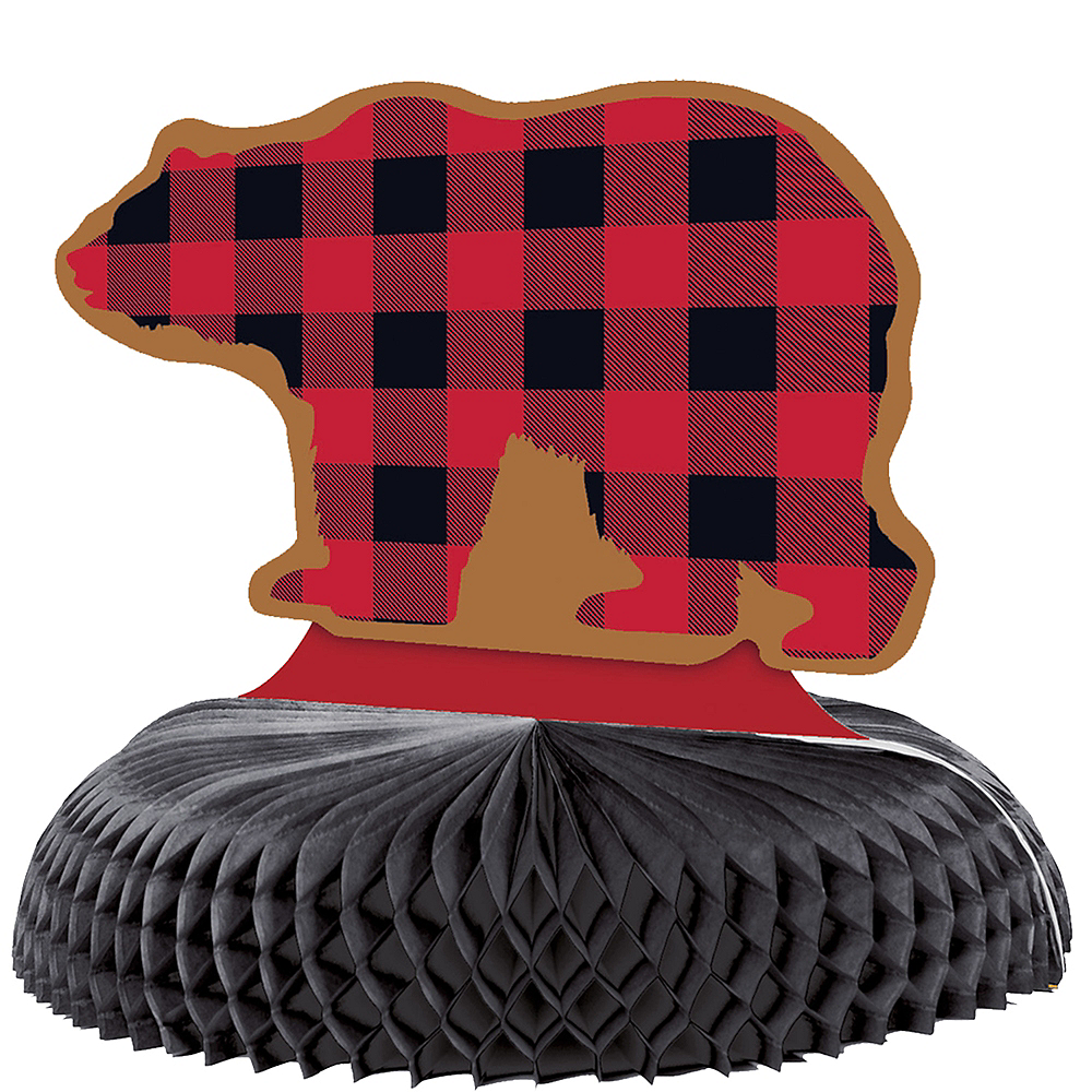 Buffalo Plaid Bear Honeycomb Centerpiece Image #1