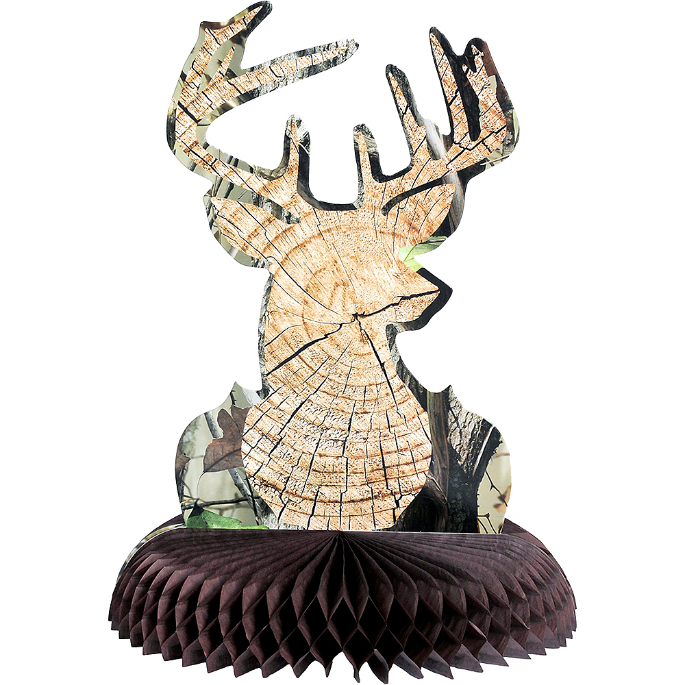 Hunting Camo Big Buck Honeycomb Centerpiece Image #1