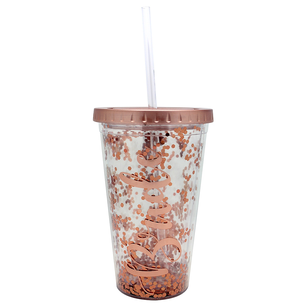 Glitter Rose Gold Bride Double Wall Tumbler with Straw Image #1