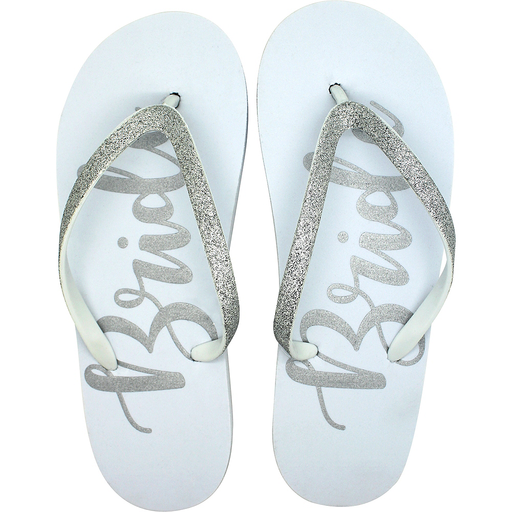 9ffbdea7ec10 Adult Small Medium Glitter Silver Bride Flip Flops Image  1