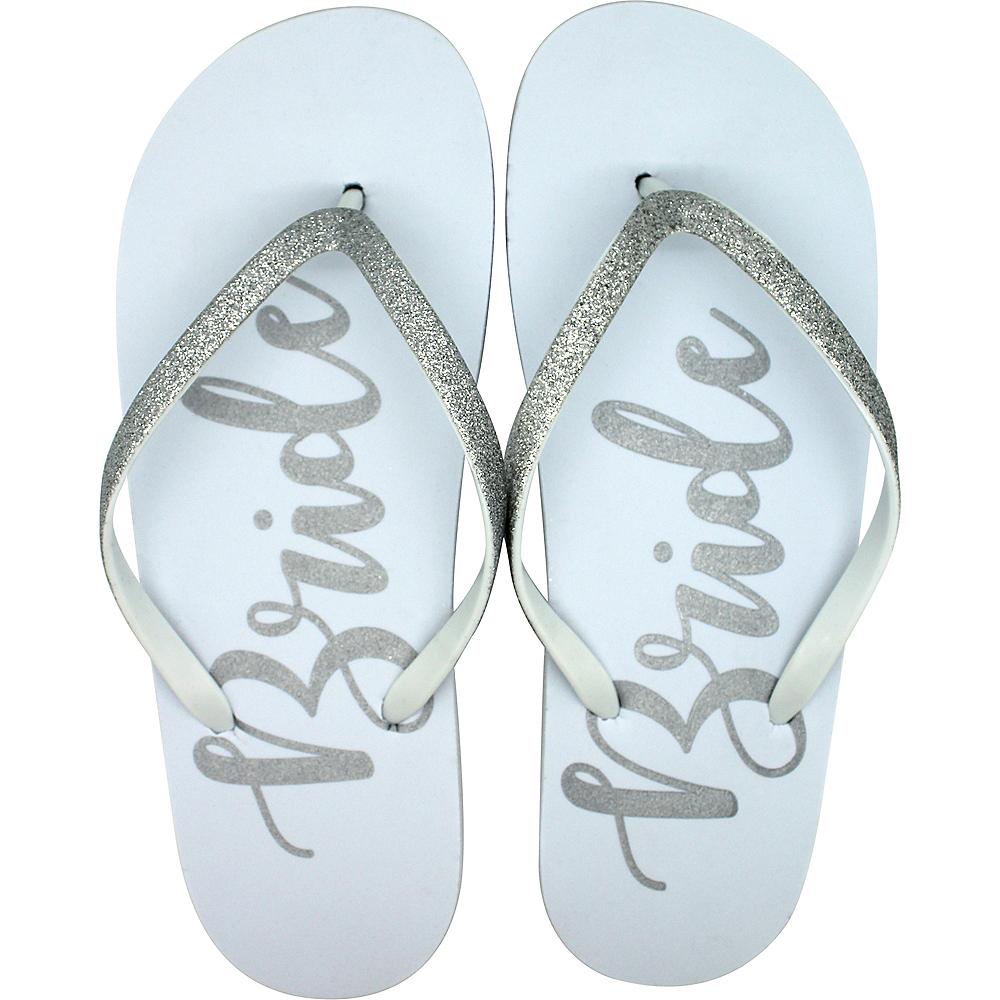 Adult Large/X-Large Glitter Silver Bride Flip Flops Image #1