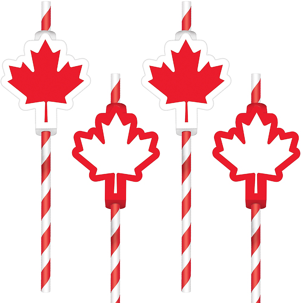 Canadian Maple Leaf Paper Straws 12ct Image #1