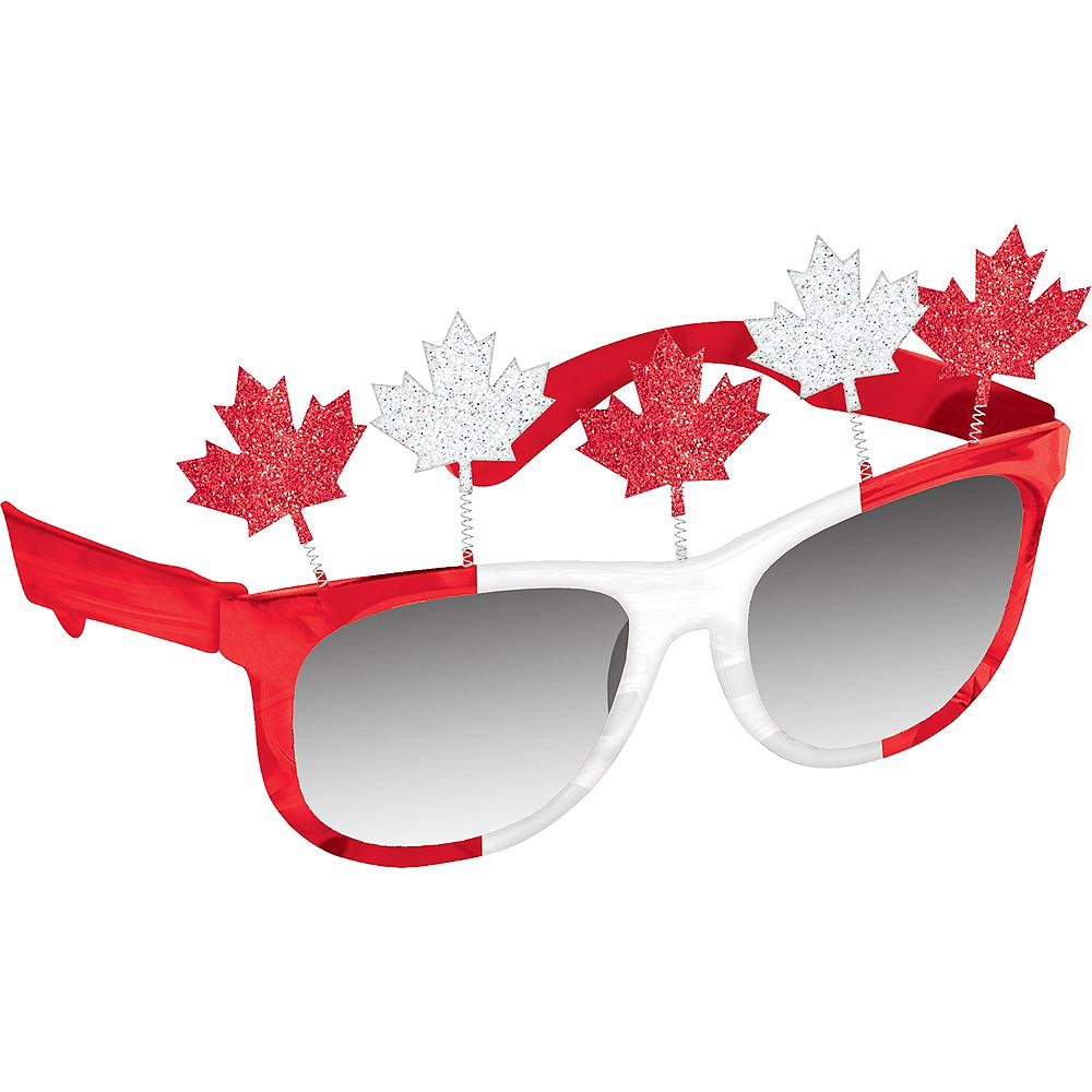 Glitter Canadian Maple Leaf Sunglasses Image #1
