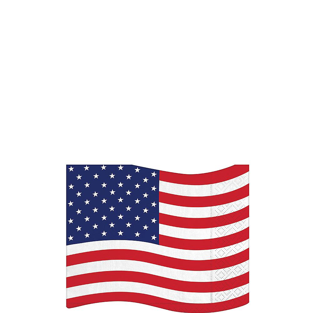 Shaped American Flag Beverage Napkins 16ct Image #1