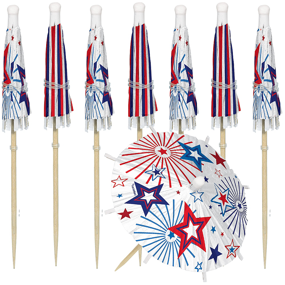 Jumbo Patriotic Red, White & Blue Umbrella Picks 24ct Image #1