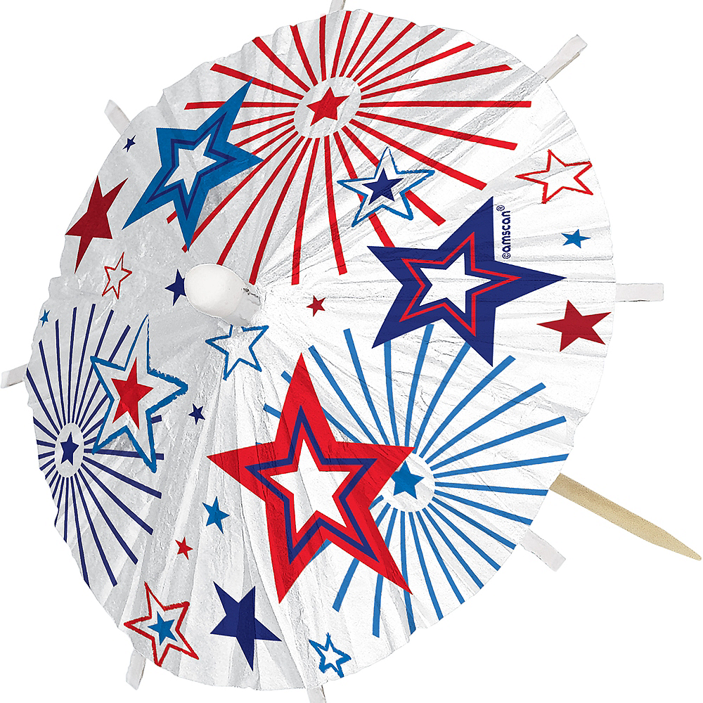 Jumbo Patriotic Red, White & Blue Umbrella Picks 24ct Image #2