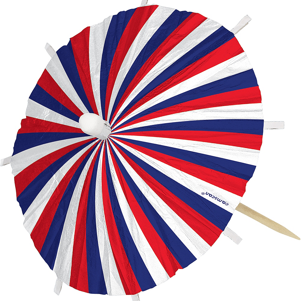 Jumbo Patriotic Red, White & Blue Umbrella Picks 24ct Image #3