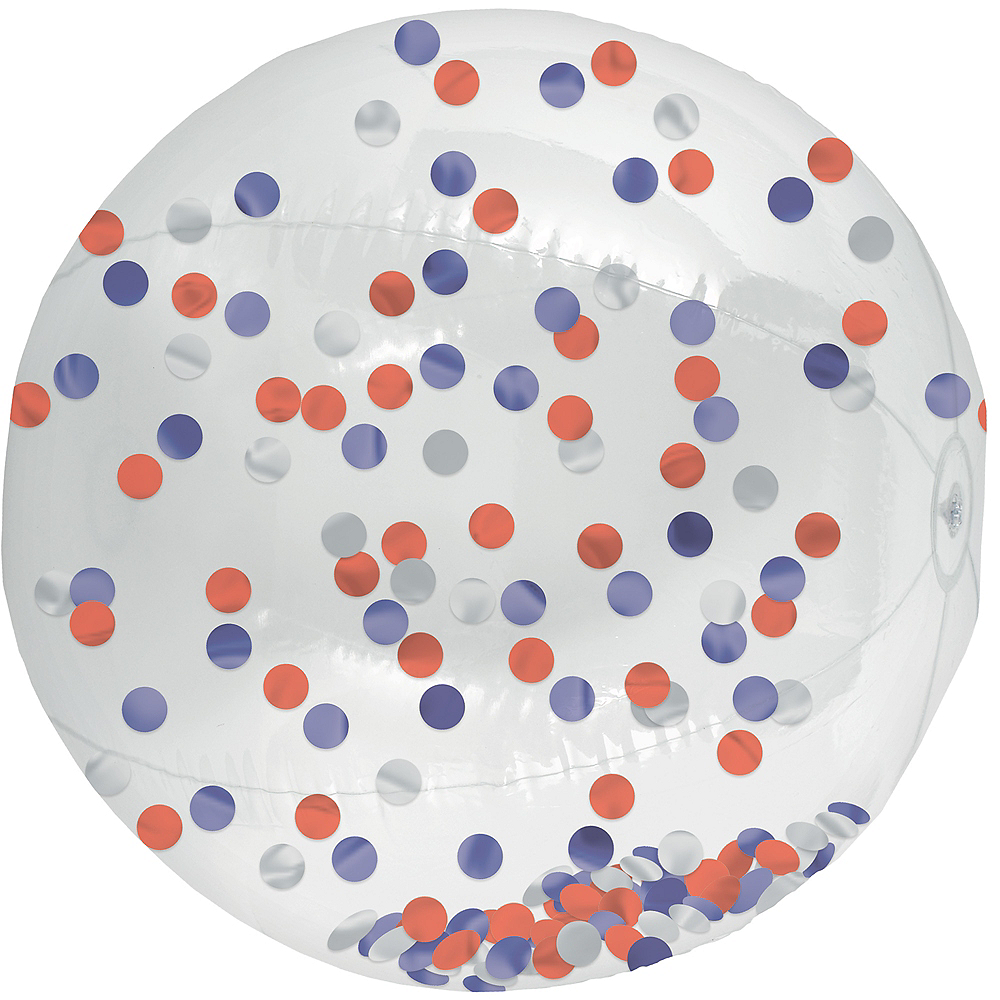 Red, White & Blue Confetti Beach Ball Image #1