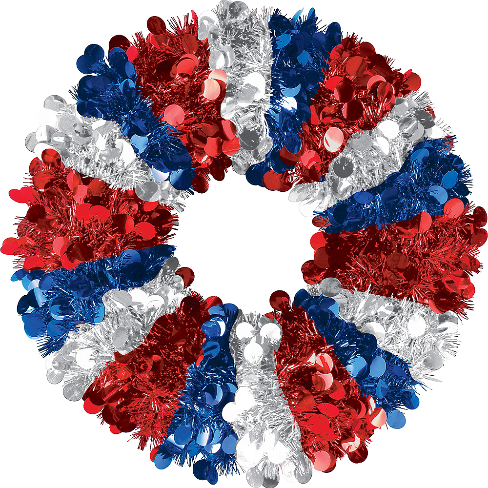 Red, White & Blue Tinsel Wreath Image #1