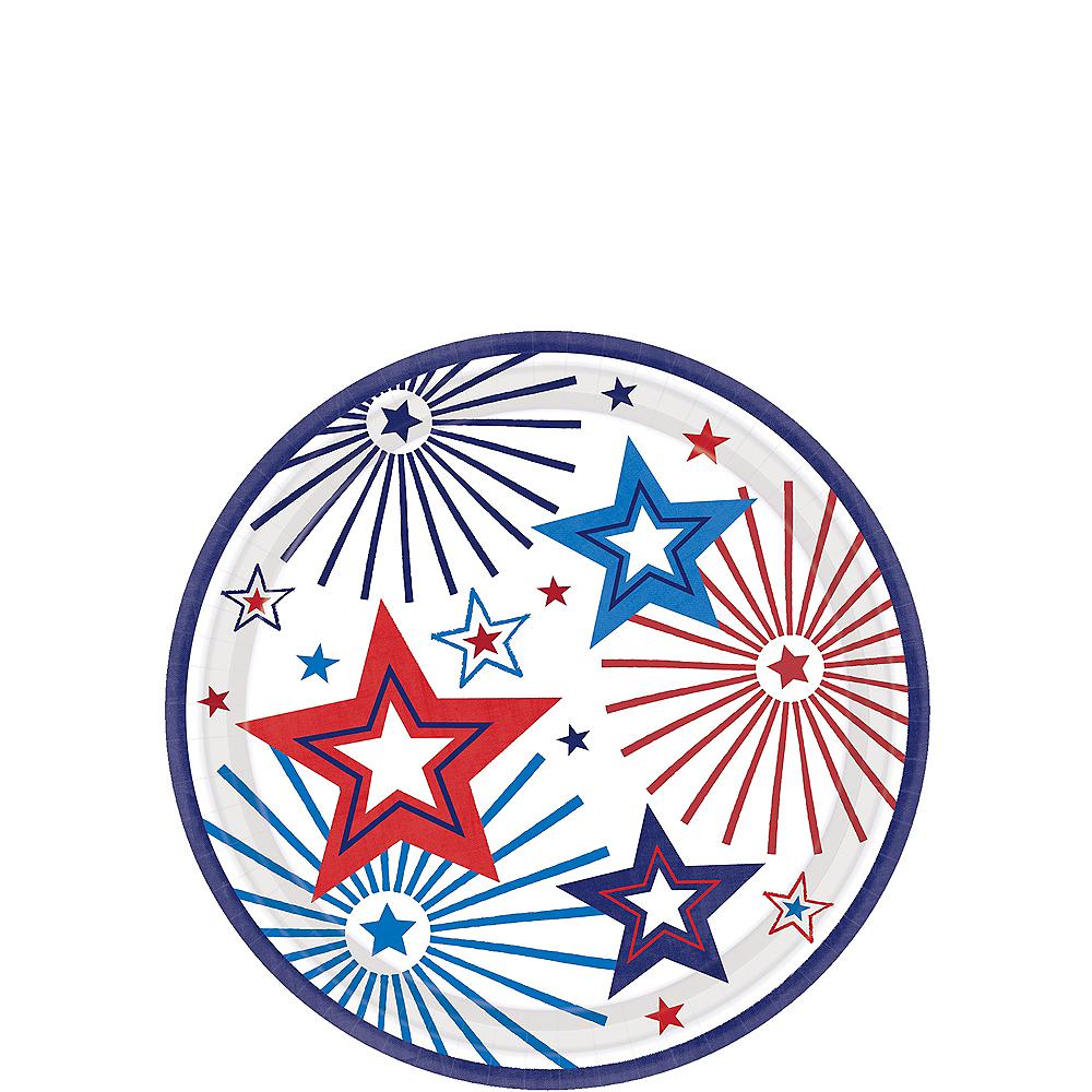 Patriotic Red, White & Blue Stars Dessert Plates 18ct Image #1